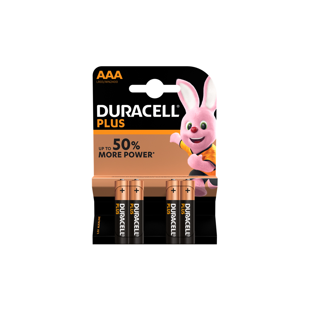 E04) Battery AAA 1.5V DURACELL Plus pk x4