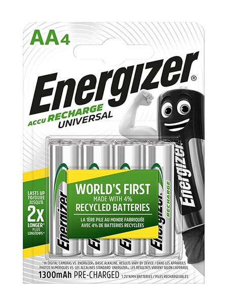 E10) BatteryRech AA 1.2V 1300mAH pk4