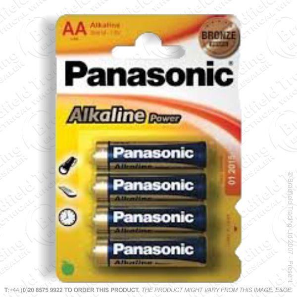 E06) Battery AA 1.5v Alkaline (pk 4) PANASON