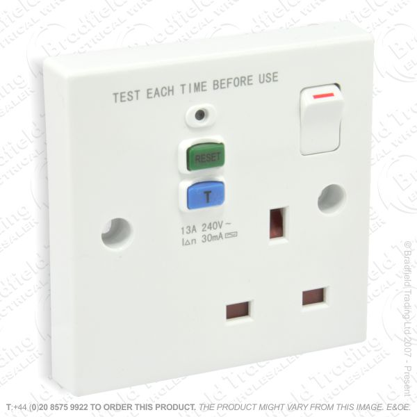 I12) Sockets RCD 1G doubleplate white SM