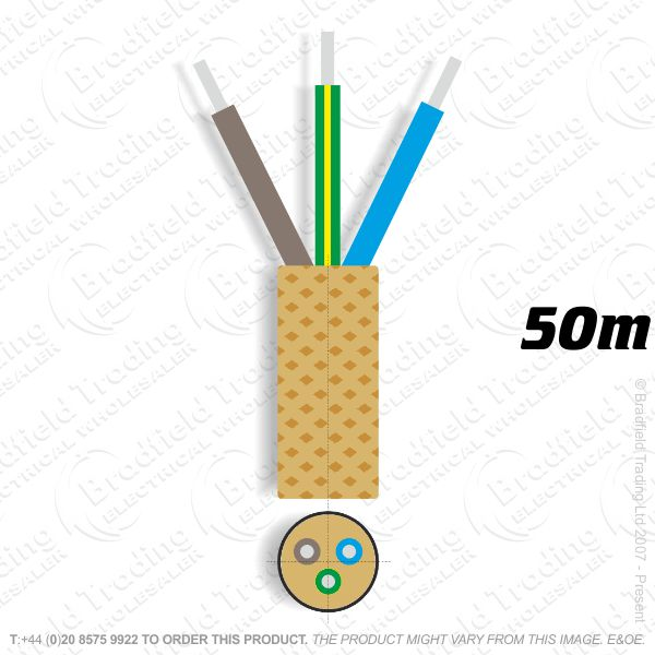 H09) Braided 0.75mm 3c Solid Ant Gold 50M
