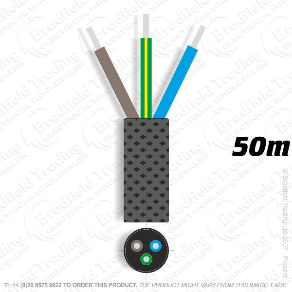 H09) Braided 0.75mm 3c Solid Black 50M