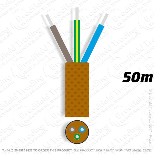H09) Braided 0.75mm 3c Solid Gold 50M