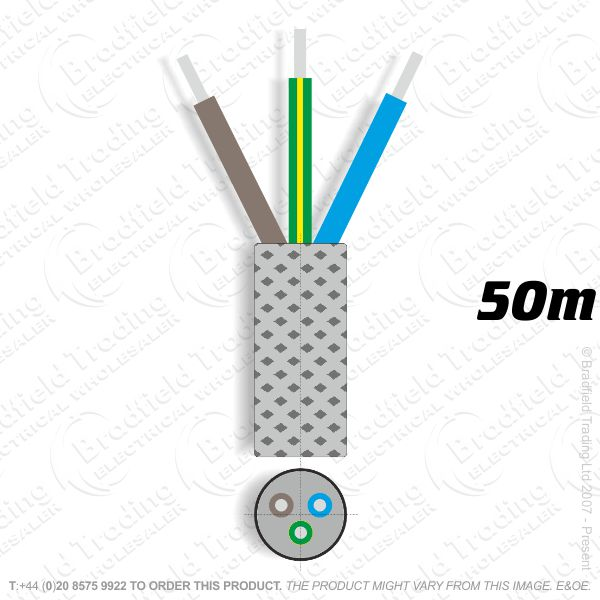 H09) Braided 0.75mm 3c Solid Solid 50M
