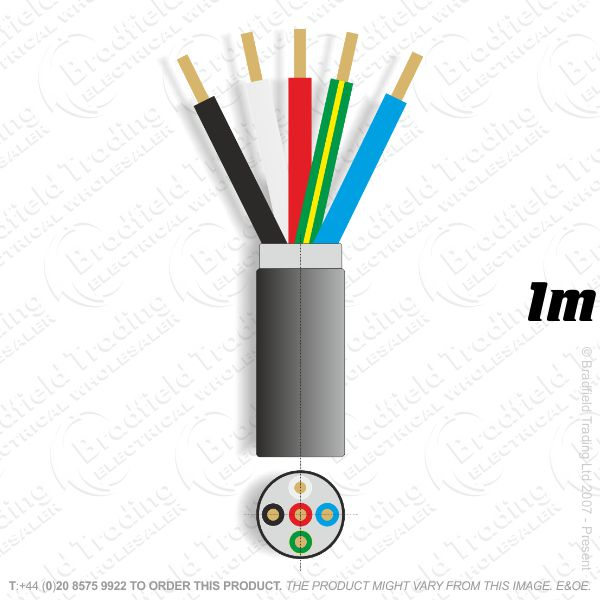 H11) SWA 10mm 5 core PVC Cable 1M