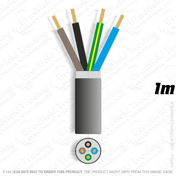 H11) SWA 2.5mm 4 core PVC Cable 1M