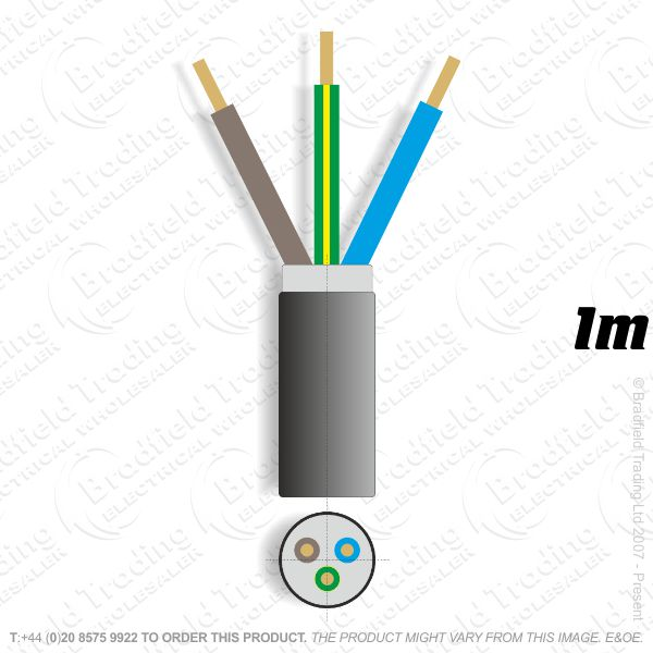 H11) SWA 4mm 3 core PVC Cable 1M